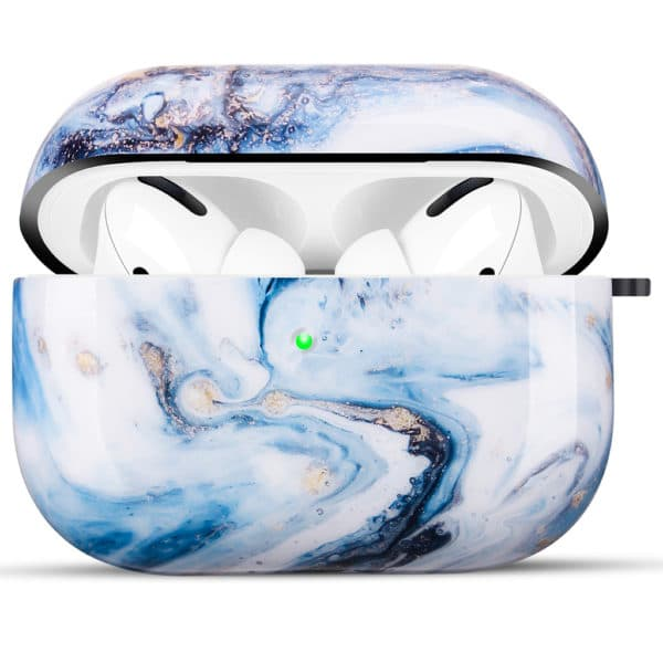 Coque de Protection AirPods Pro - Marbre Bleu & Or