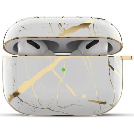 Coque de Protection AirPods Pro - Marbre Blanc et Or